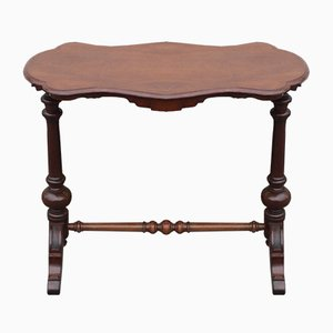 Antique Shaped Mahogany Side Table with Cross Stretcher, 1900s