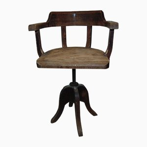 Chaise Pivotante d'Atelier Industrielle Art Déco, 1920s à 1940s