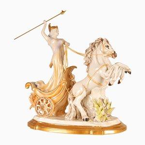 Scultura Mid-Century in porcellana di Diana Cacciatrice di Cesare Villari per Capodimonte, Italia