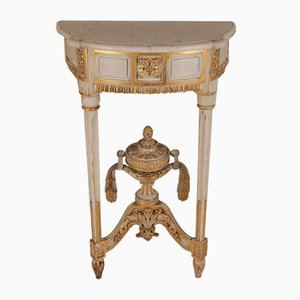 Antique French Neoclassical White & Gold Marble & Wood Console Table, 1770s