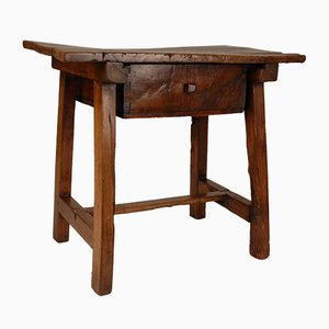 Antique Spanish Walnut Side Table, 1700s