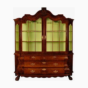 Louis XV Style Dutch Rococo Burl Wood Display Cabinet with Secret Drawers, 1700s