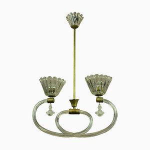 Italian Brass & Hand Blown Glass Ceiling Lamp from Barovier & Toso, 1950s