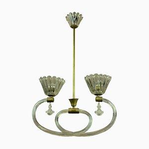 Lampada da soffitto in ottone e vetro soffiato a mano di Barovier & Toso, Italia, anni '50