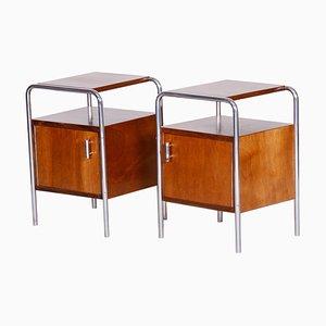 Tables de Chevet Macassar Bauhaus par Robert Slezak, Tchécoslovaquie, 1930s, Set de 2