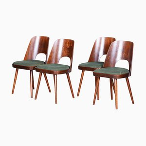 Czech Brown and Green Beech Chairs by Oswald Haerdtl for Ton, 1950s, Set of 4