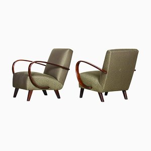 Green Beech Armchairs by Jindrich Halabala for Up Zavody, 1930s, Set of 2