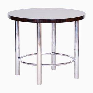 20th Century Chrome Round Macassar Bauhaus Table, 1930s