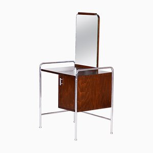 Chrome Beech Vintage Bauhaus Toilette with Mirror, 1930s