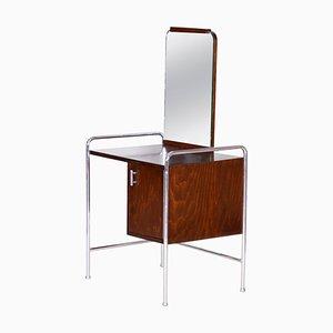 Toilette Bauhaus Vintage en Hêtre Chromé avec Miroir, 1930s