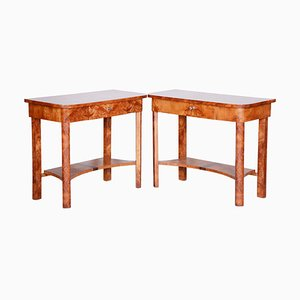 Brown Elm Side Tables, 1920s, Set of 2