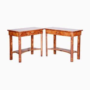 Brown Elm Side Tables, 1920s, Set of 2