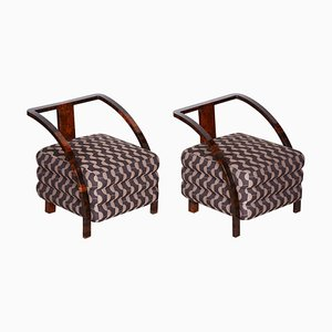 Brown Armchairs, 1920s, Set of 2