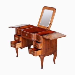 Brauner barocker Eichenholz Schreibtisch mit Spiegel, 1820er