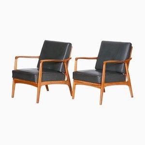 Armlehnstühle aus Eichenholz & Leder in Braun & Grau, 1940er, 2er Set