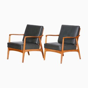 Brown and Grey Oak and Leather Armchairs, 1940s, Set of 2