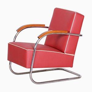 Red Tubular Steel Cantilever Chrome Armchair, 1930s