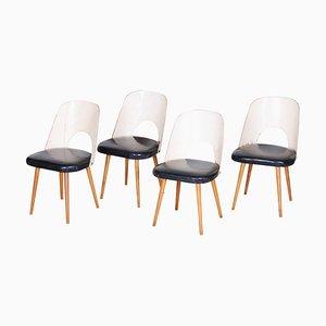 Stühle in Buche in Schwarz & Weiß von Oswald Haerdtl, 1950er, 4er Set