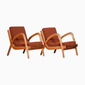 Brown and Red Oak Armchairs by Jan Vanek, 1940s, Set of 2