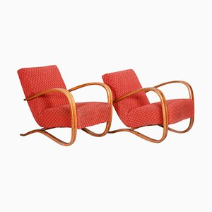 Red H-269 Beech Armchairs by Jindrich Halabala, Czechoslovakia, Set of 2