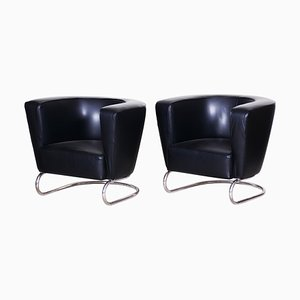 Black Armchairs by Jindrich Halabala, 1930s, Set of 2