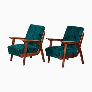 Brown and Green Beech Armchairs by Jan Vaněk, 1940s, Set of 2