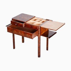 Brown Walnut Side Table, 1930s