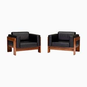 Bastiano Stühle von Tobia Scarpa für Gavina aus schwarzem Leder, Italien, 1975, 2er Set