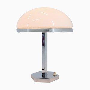 Lampada da tavolo Bauhaus in metallo cromato e vetro, anni '30