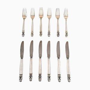 Sterling Silver Acorn Cutlery Set from Georg Jensen