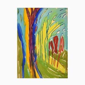 Ivy Lysdal, abstrakte modernistische Gouache Malerei auf Karton