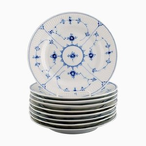 Model Number 1/178 Blue Fluted Plain Lunch Plates from Royal Copenhagen, Set of 9