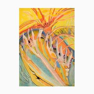 Ivy Lysdal, abstrakte modernistische Gouache und Ölkreide auf Karton