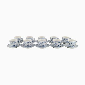 Blue Fluted Plain Coffee Cups with Saucers from Royal Copenhagen, Set of 10