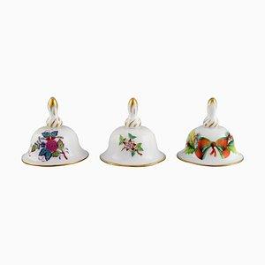 Tischglocken aus handbemaltem Porzellan mit Blumen von Herend, 1980er, 3er Set