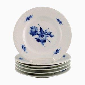 Blaue Florale Geflochtene Teller von Royal Copenhagen, 1940er, 6er Set