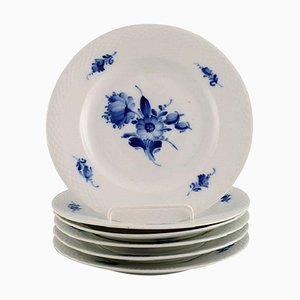 Blue Flower Braided Plates from Royal Copenhagen, 1940s, Set of 6