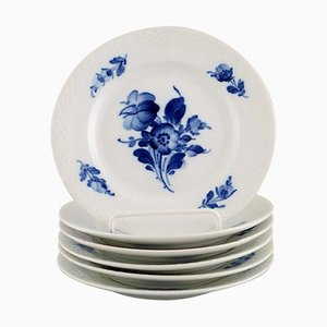 Blue Flower Braided Cake Plates from Royal Copenhagen, 1940s, Set of 6