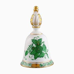 Tischglocke aus handbemaltem Porzellan mit Blumen- und Goldverzierung von Herend
