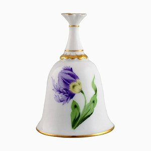 Table Bell in Hand-Painted Porcelain with Floral and Gold Decoration from Herend