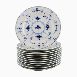 Model Number 1/180 Blue Fluted Plain Plates from Royal Copenhagen, Set of 12