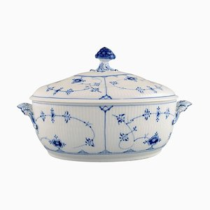 Model Number 1/214 Blue Fluted Plain Lidded Soup Tureen from Royal Copenhagen