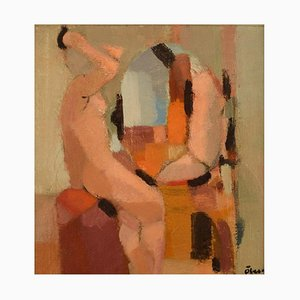 Anonymous Swedish Artist, Abstract Nude Study, 1960s, Oil On Canvas