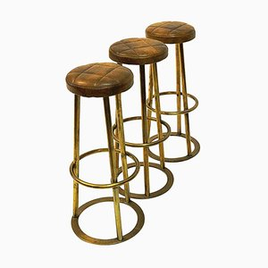 Vintage Brass and Brown Leather Barstools, 1950s, Set of 3