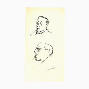 Mino Maccari, Portrait de Leo Longanesi, Dessin à l'Encre d'Origine, 1950s
