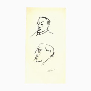 Mino Maccari, Portrait of Leo Longanesi, Original Ink Drawing, 1950s