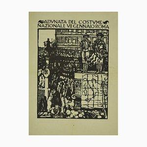 Giulio Aristide Sartorio, Sammeln des Kostüms, Original Holzschnitt, 1938