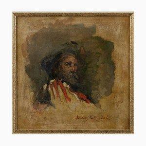 Amos Cassioli, Porträt von Giuseppe Garibaldi, Ölgemälde, 19. Jahrhundert