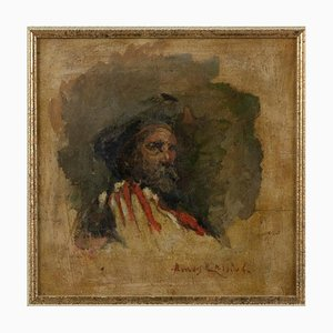 Amos Cassioli, Portrait of Giuseppe Garibaldi, Oil Painting, 19th Century