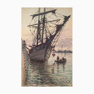 Voilier dans le Port, Aquarelle Originale, 1929